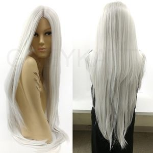 """Silver gray long lace front heat resistant wig 35"""""""
